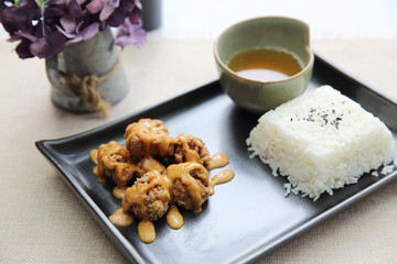 karaage fried chicken with rice japanese food