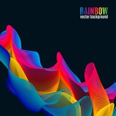 Rainbow  Lines vector background