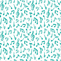 Seamless vector pattern with music notes