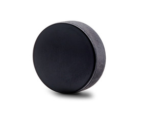 An Upright Hockey Puck Isolated on White Background