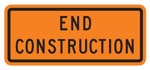 US traffic warning sign: End Construction