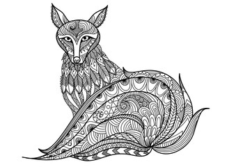 Red fox line art design for coloring book for adult, tattoo, t shirt design and so on