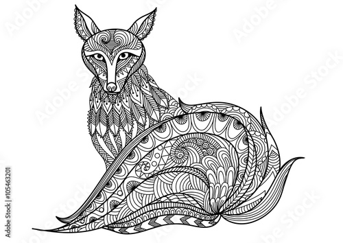 Line And Design Art : Quot red fox line art design for coloring book adult
