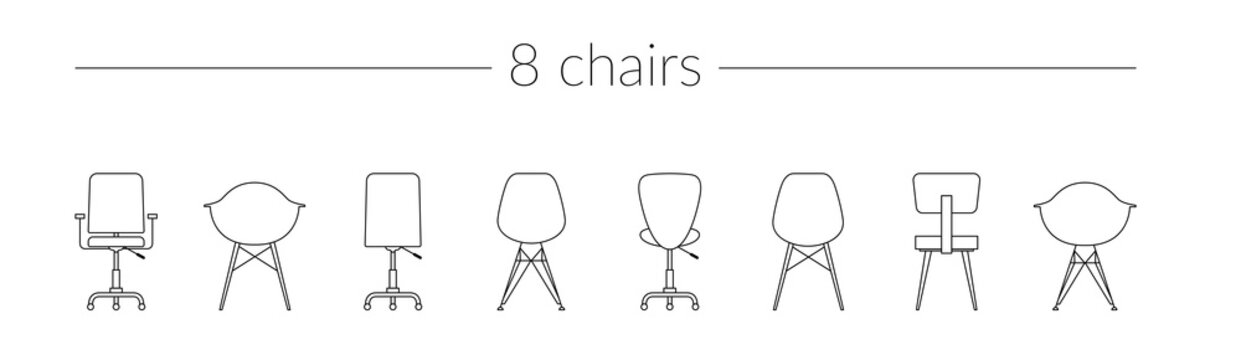 Vector Thin Line Icon Set Chairs