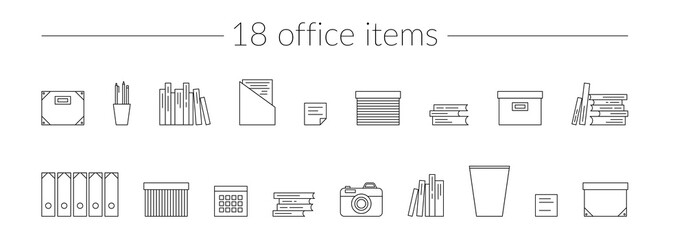 Vector Thin Line Icons Set Office Items