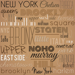New York City - retro, vintage, vector background.