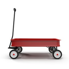 Childs red wagon on white background
