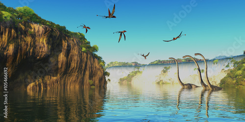 Dimorphodon and Omeisaurus Dinosaurs - Omeisaurus herbivorous sauropod dinosaurs wade through a river below a waterfall as Dimorphodon flying reptiles fly overhead.