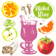 Mulled wine set in sketch style. Classical winter drink.