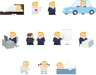 Color vector illustrations of casual contemporary man's everyday life