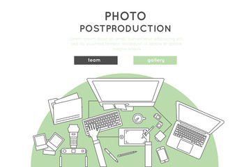 post production and photo retouch vector banner, website template design in thin line and flat style