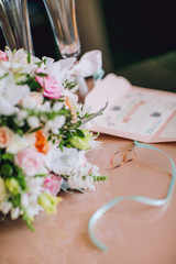 Wedding rings with flowers and accesories