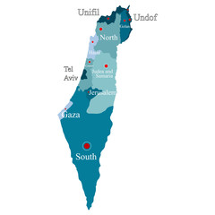 Israel map with regions on a white background
