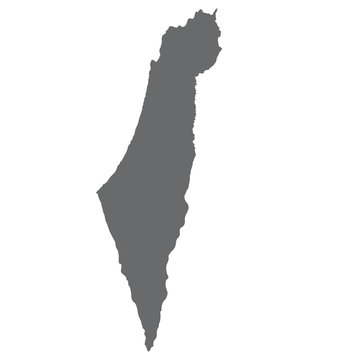Israel map in gray on a white background