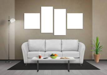 Four isolated art canvas in living room for mockup. Sofa, table, lamp and plant in room.