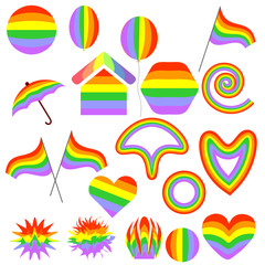 Large set of colorful symbols. Rainbow. Vector.