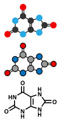 Uric acid molecule. High blood levels lead to gout disease.