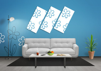 Flowers on art canvas in living room. Blue wall with flower wallpaper and gray wooden floor. Sofa, table, lamp and plant in room.