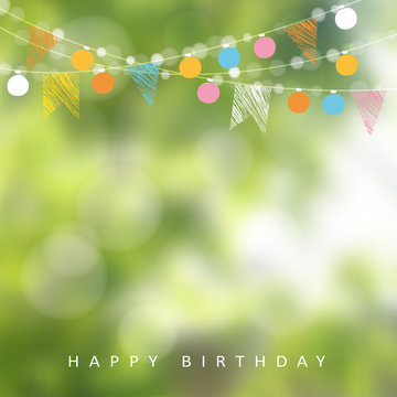 Birthday garden party or Brazilian june party, vector illustration with garland of lights, party flags, blurred background