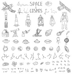 Hand drawn doodle Space and Cosmos set Vector illustration Universe icons Space concept elements Rocket Space ship symbols collection Solar system Planets Galaxy Milky Way Astronaut Tech freehand icon