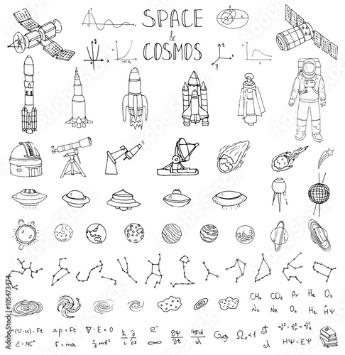 Hand Drawn Doodle Space And Cosmos Set Vector Illustration Universe