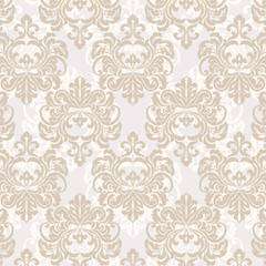 Vintage damask floral ornament pattern in gold. Vector