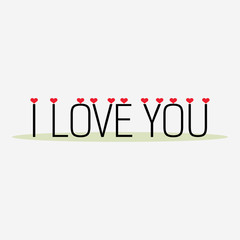 Love hearts with text I Love You
