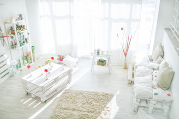 living home interior - white and bright sunny living room
