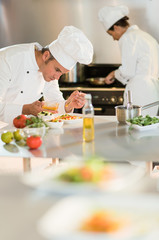 Two chefs are working in a starred restaurant kitchen.