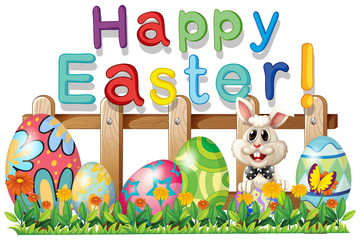 Happy Easter with bunny and eggs