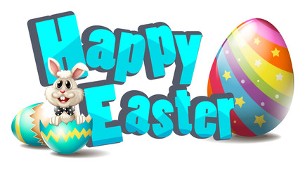Happy easter with easter bunny and colorful eggs