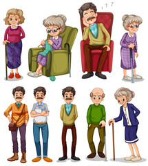 Old men and women in different actions