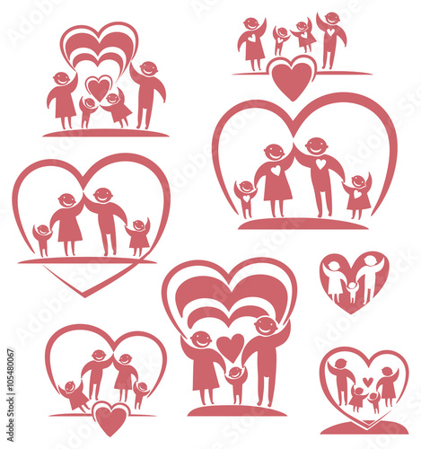 """Love family. Parents and children. Vector icon set"" Stock ..."