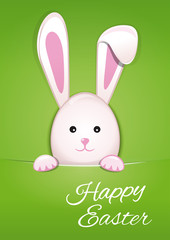 Cute Easter bunny on spring green background. Easter bunny looking out a green background. Happy easter. Vector illustration