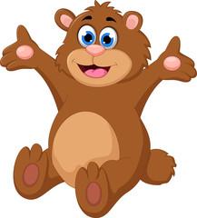 Cartoon bear waving hand