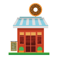 Cute cartoon vector illustration of a donuts shop