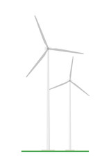 Cute cartoon vector illustration of a eolian energy plant