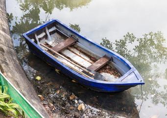 Old plastic rowboat