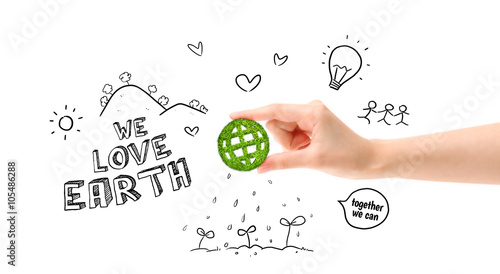 Green Globe Earth World In Hand And Environmental Drawing