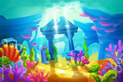 Creative illustration and innovative art temple ruins under the creative illustration and innovative art temple ruins under the sea realistic fantastic cartoon style voltagebd Gallery