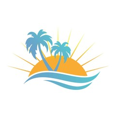 beach tree palm nature logo