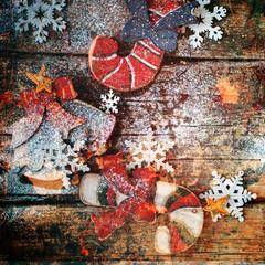 Christmas Fir Tree Toy Candy Cane Shabby