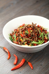Stir fried spicy meat with bell peppers
