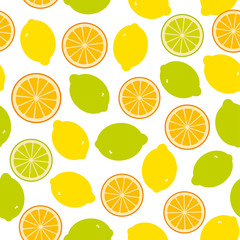 Seamless pattern with lemon, lime, orange on the white background