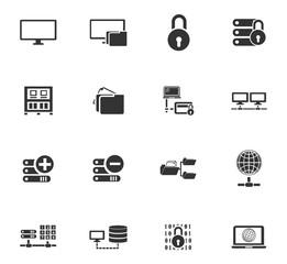 Internet, server, network icons set