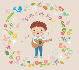 happy boy playing guitar and  sing a song vector illustration