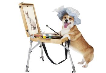 Dog artist draws a cat