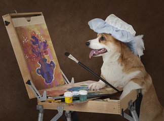 Dog artist painting still life with flowers