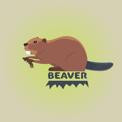 Funny cartoon beaver illustration, cartoon style