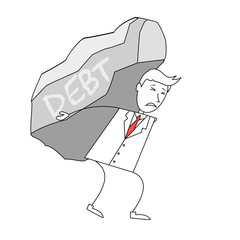 Cartoon man in suit carrying a rock of debt